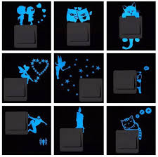 <b>Blue Light Luminous Switch Sticker</b> Home Decor Cartoon Glowing ...