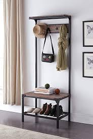 Image Shoe Amazoncom Ehomeproducts Reclaimed Oak Industrial Look Entryway Shoe Bench With Coat Rack Hall Tree Storage Organizer Hooks In Black Metal Finish Amazoncom Amazoncom Ehomeproducts Reclaimed Oak Industrial Look Entryway