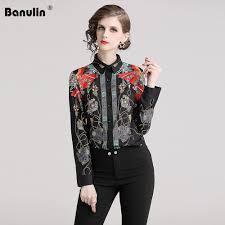 Female Office Shirt Designs 2019 Runway Designer Womens Tosp Autumn Blouse Long Sleeve