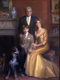 portrait painting of the cohen family by michael shane neal