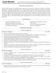 Maintenance Manager Resume Maintenance Resume Resume Amazing