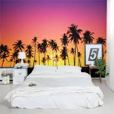 Palm Tree Bedroom Furniture Palm Tree Sunset Wall Mural