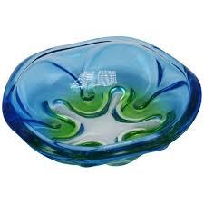blue green murano glass bowl c 1970