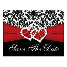 Red Save The Date Cards Black White Red Damask Save The Date Postcard Zazzle Com