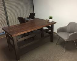 industrial home office desk. l shape brooklyn industrial office desk combining a clean cut carbon steel frame with maple butcher home