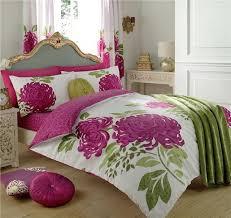 fuchsia pink fern green duvet cover bed set flower print quilt