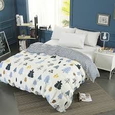 cartoon winter forest printing duvet cover with zipper 100 cotton quilt cover soft comforter cover