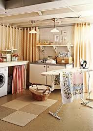 unfinished basement laundry room makeover. Add Curtains To Define Your Space Unfinished Basement Laundry Room Makeover N