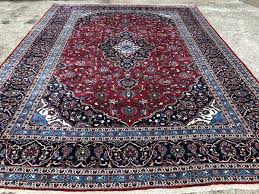 10x13 antique persian rug hand knotted red blue oriental area rugs kashan handmade