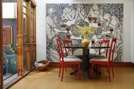 designs ideas contemporary dining space decor with large wall art and round table and red