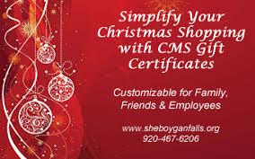 Holiday Gift Certificates Holiday Gift Certificates Available Online Sheboygan Falls