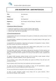 Waitress Responsibilities Resume Waitress Description For Resume
