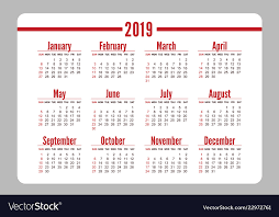 Horizontal Calendar Horizontal Red Pocket Calendar On 2019 Year