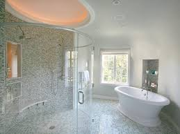 gray transitional bathroom with oval shower and soaking tub bathroom remodel tile floor v57 remodel