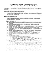 Attendant Sheet Occupational Health Safety Orientation Information Sheet