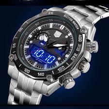 luxury top brand quamer full steel watches men military sports luxury top brand quamer full steel watches men military sports digital wristwatches dual time quartz analog clock led hours