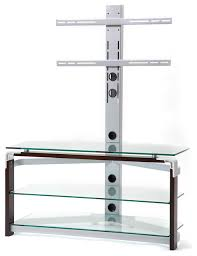 tempered glass tv stand clear silver walnut modern entertainment centers and tv stands by new spec inc