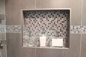 Decorative Tile Strips Double shower niche witn metal trim and decorative glass accent 21