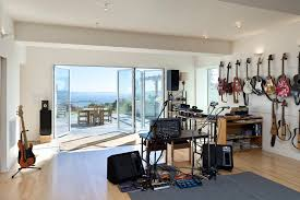 modern private home office. Rehearsal Studios With Person St Andard Height Dining Tables Home Theater Modern And Water View Private Office P