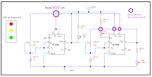 traffic light circuit using ic 555 traffic light using ic 555