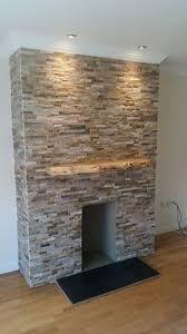 natural stone cladding ivory tiles fireplace decor