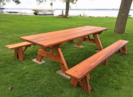 furniture redwood picnic table finish round plans with detached benches bench tables for eugene and