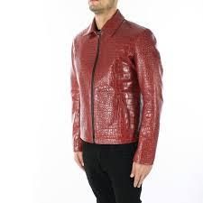 details about italian handmade slim fit men genuine goat leather jacket crocodile cognac brown