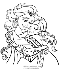 Disegno Da Colorare Di Anna Ed Elsa Che Si Abbracciano Frozen Il