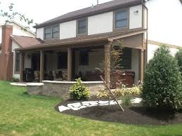 fire pit roof patio covered open porch in gahanna oh with custom fire pit and seating wall
