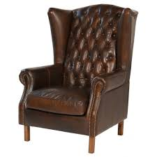 amazing brown leather wingback chair with on tufted and nailhead trim plus wood legs design
