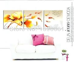 canvas art prints set of 3 hand painted abstract goldfish paintings lotus flower modern piece no framed pictures