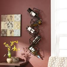 comely kitchen and dining wall decoration by using wall mounted metal wine racks fair ideas