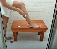 Patio Wood Shower Bench - Wood Shower Benches | Forever Redwood. Can be  sized to