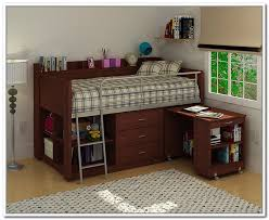 image of brown storage loft bed with desk