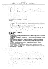 Clinical Project Manager Resume Samples Velvet Jobs