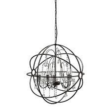 metal chandelier with glass crystals black target