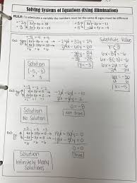 move to actually solving the equations at the bottom once i feel like they understand what we need to multiply by to eliminate one of the variables