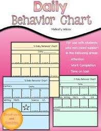 Daily Behavior Charts For Autistic Students Behavior Chart For Students Time On Task Work Completion