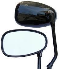 10mm <b>Universal Motorcycle Bike</b> BLACK <b>Oval</b> Rear View Mirror for ...