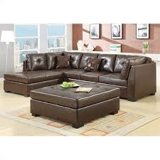 coaster darie leather sectional sofa with ottoman in brown 500686 500687 pkg