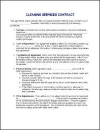 cleaning services contract templates contract for services agreement sample janitorial contract