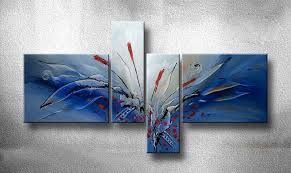 4 piece canvas wall art home decor blue large pictures multi panel art on large blue flower wall art with 4 piece canvas wall decor blue artwork floral multi panel art
