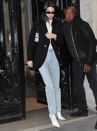 kendall jenner rocking pointy white leather boots with high heel