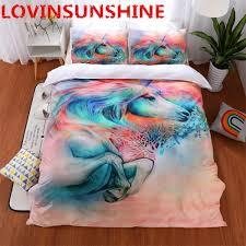 3d unicorn bedding set queen size watercolor print bed set kids girl pink duvet cover colored dreamlike bedlinen malaysia