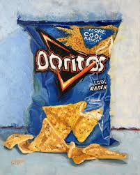 "KAREN BARTON-GRAY shared a post on Instagram: ""I finished my painting of  Cool Ranch Doritos. Now my husband can f… 