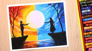 oil pastel drawing for beginners love and separation scenery drawing