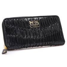 Coach Accordion Zip In Gathered Twist Black Large Wallets CCF