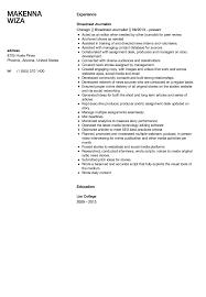 Broadcast Journalist Resume Sample Velvet Jobs Resume Template 45613