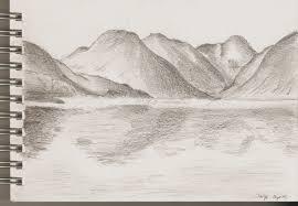 water reflection drawing. mountain ridge reflection. by dobhrionn water reflection drawing i