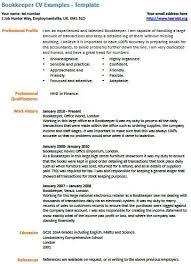 cv examples  bookkeeper cv example